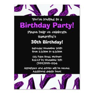 Purple Leopard High Heels Print Party Invitation