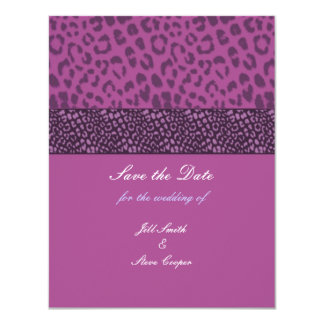 Purple Leopard Pattern Save the Date Announcement