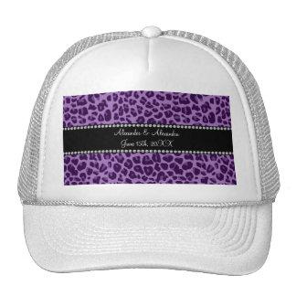 Purple leopard pattern wedding favors hats