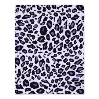 """Purple leopard print 4.25"""" x 5.5"""" invitation card"""