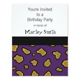 Purple Leopard Print Birthday Invitations