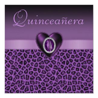 "Purple Leopard Print & Bling Hearts Quinceanera 5.25"" Square Invitation Card"