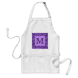 Purple Leopard Print Custom Monogram Apron