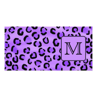 Purple Leopard Print Custom Monogram. Photo Greeting Card