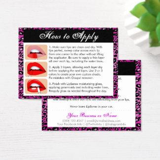 Purple Leopard Print - Lip Colour Apply & Tips Business Card