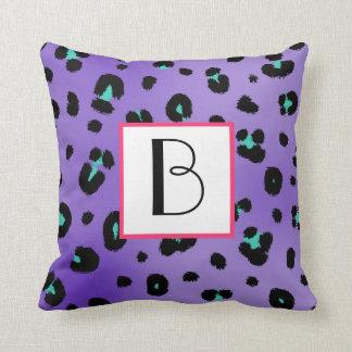 Purple Leopard Print Monogram Pillow