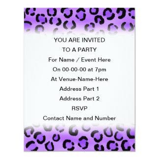 """Purple Leopard Print Pattern. 4.25"""" X 5.5"""" Invitation Card"""