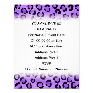 Purple Leopard Print Pattern. Personalized Invites
