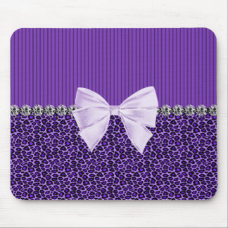 Purple Leopard with elegant bow faux diamond bling Mouse Pad