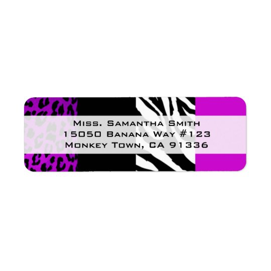 Purple Leopard & Zebra Animal Print Return Address Return Address Label