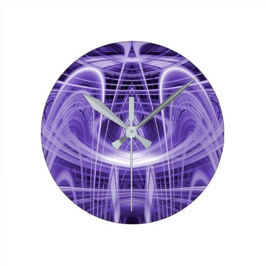 Purple light trails round clock