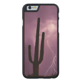 Purple lightning and cactus, AZ Carved® Maple iPhone 6 Case