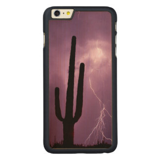 Purple lightning and cactus, AZ Carved® Maple iPhone 6 Plus Case