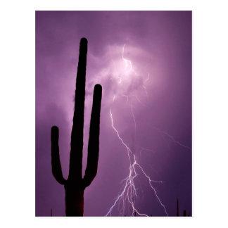 Purple lightning and cactus, AZ Postcard