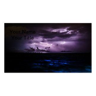 Purple Lightning at Night Business Card