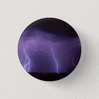 Purple Lightning in a Night Desert Thunder Storm 1 Inch Round Button