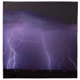 Purple Lightning in a Night Desert Thunder Storm Cloth Napkin