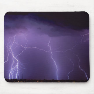 Purple Lightning in a Night Desert Thunder Storm Mouse Pad