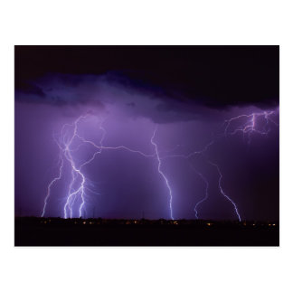 Purple Lightning in a Night Desert Thunder Storm Postcard