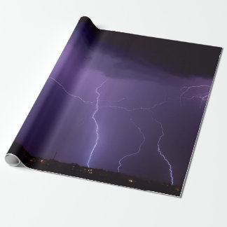 Purple Lightning in a Night Desert Thunder Storm Wrapping Paper