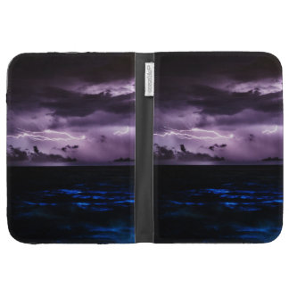 Purple Lightning over the Ocean Kindle Folio Case