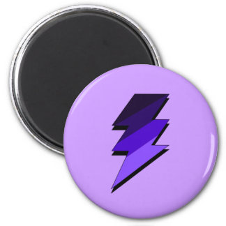 Purple Lightning Thunder Bolt 2 Inch Round Magnet