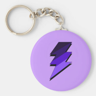 Purple Lightning Thunder Bolt Basic Round Button Keychain