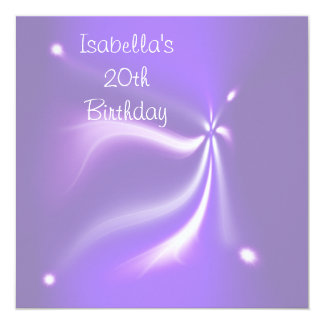Purple Lights 20th Birthday Party Card