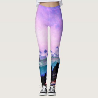 Purple Lights in the Mountains Leggings