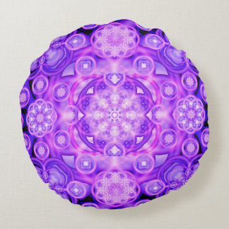 Purple Lights Mandala Round Pillow