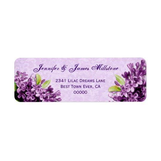 Purple Lilac Blossoms Vintage Wedding Label
