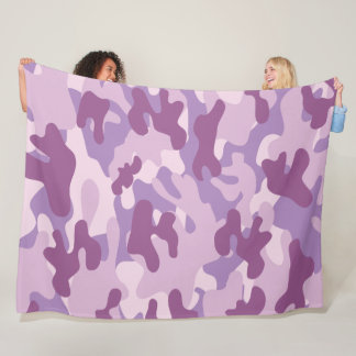 Purple Lilac Color Camouflage Pattern Fleece Blanket