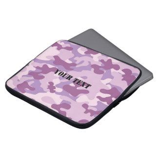 Purple Lilac Color Camouflage Pattern Personalized Laptop Sleeve