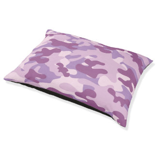 Purple Lilac Color Camouflage Pattern Pet Bed