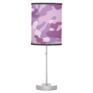 Purple Lilac Color Camouflage Pattern Table Lamp