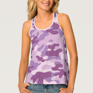 Purple Lilac Color Camouflage Pattern Tank Top