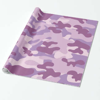Purple Lilac Color Camouflage Pattern Wrapping Paper