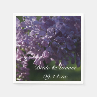 Purple Lilac Flowers Wedding Paper Napkins