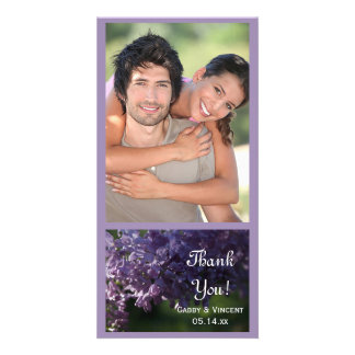 Purple Lilac Flowers Wedding Thank You Photo Card Template