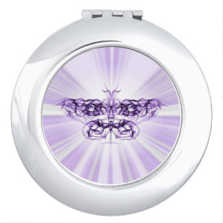 Purple, Lilac Futuristic Fractal Butterfly Compact Mirror