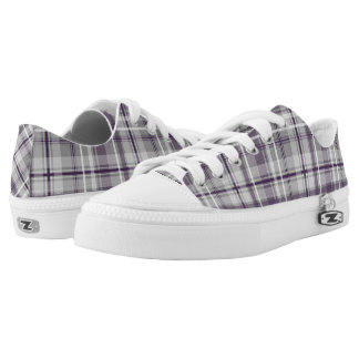 purple lilac gray plaid pattern Low-Top sneakers