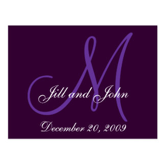 Purple Lilac Names Initials Save the Date Postcard
