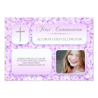 Purple Lilac Roses FIrst Communion Custom Photo Card
