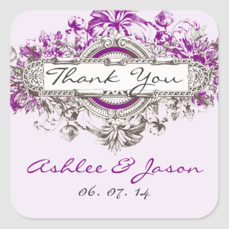 Purple Lilac Vintage Floral Wedding Thank You Square Sticker