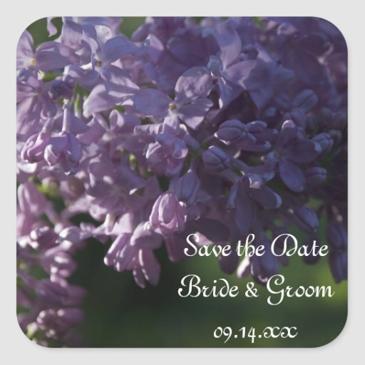 Purple Lilac Wedding Save the Date Stickers