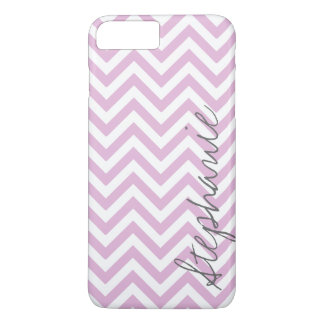 Purple Lilac Zigzag Chevron Pattern with Name iPhone 7 Plus Case