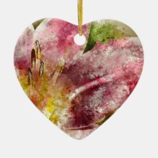 Purple Lily Close Up Ceramic Heart Ornament