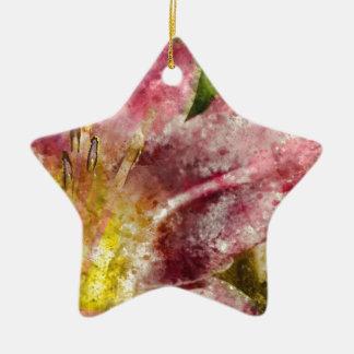 Purple Lily Close Up Ceramic Star Ornament