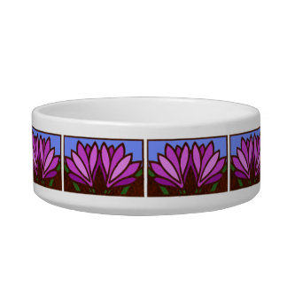 Purple Lily Flower Pattern Ceramic Small Dog Dish Cat Food Bowl