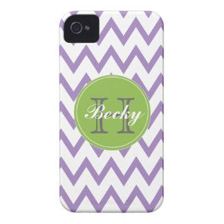 Purple & Lime Chevron Monogrammed iPhone 4/4s iPhone 4 Cover